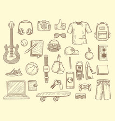 Teenage stuff young boys and girls clothes and vector