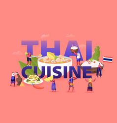 thai cuisine concept tiny male female characters vector image