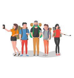 Travel people with backpack set in flat design vector