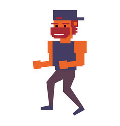 Videogame pixelated gangster vector