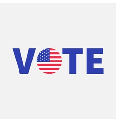 Vote blue text Badge button icon with American vector