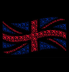Waving british flag pattern of jet plane items vector