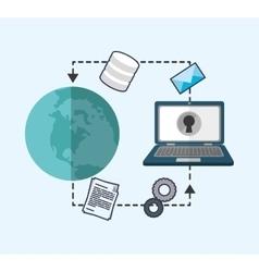 Web hosting planet laptop envelope design vector