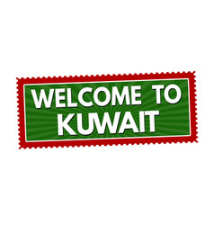 welcome to kuwait travel sticker or stamp vector image