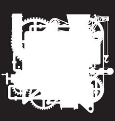 White silhouette of the complex fantastic machine vector