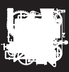 white silhouette of the complex fantastic machine vector image