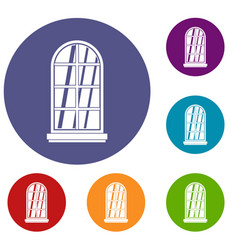 white window frame icons set vector image