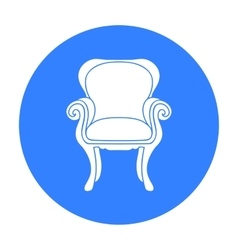 Wing-back chair icon in black style isolated on vector