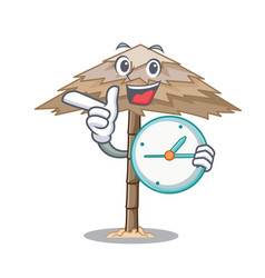 With clock character tropical sand beach shelter vector