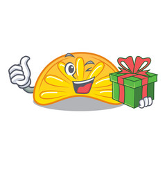 With gift orange jelly candy mascot cartoon vector