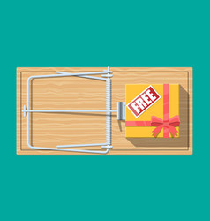 wooden mouse trap with gift box with free sign vector image