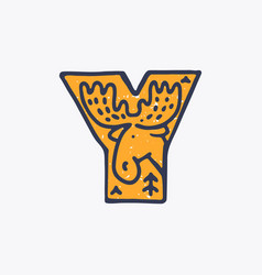 Y letter logo with an elk in nordic folk art vector
