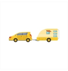 Yellow car pulling the trailer vector