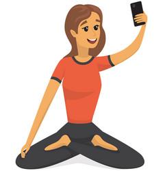 Yogi in lotus position is posing for selfie girl vector