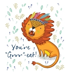 You are great Cute lion cartoon vector