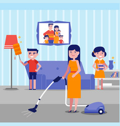 young happy caucasian white family cleaning house vector image