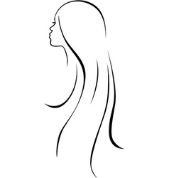 beautiful woman head - black line drawing vector image vector image