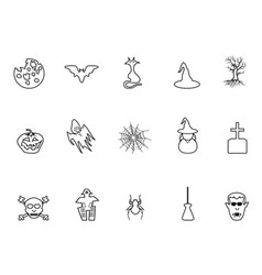 black halloween outline icons set vector image vector image