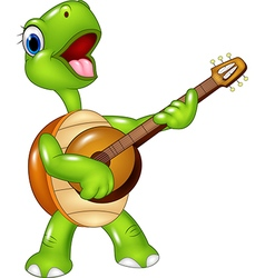 Cartoon turtle playing a guitar vector image vector image