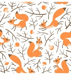 Little cute squirrels in the fall forest Seamless vector image