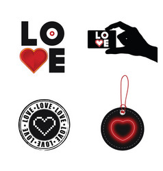 love heart set on white background vector image