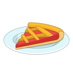 Piece of cake on a plate icon cartoon style vector