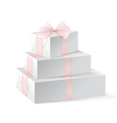 stack of three realistic white gift boxes vector image