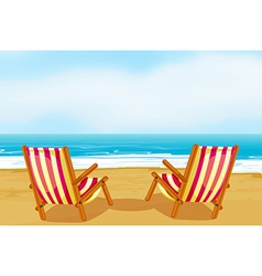 Chairs on beach vector image