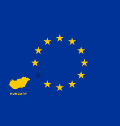 eu flag with hungary country european union vector image