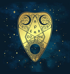 gold divination board planchette over the blue sky vector image vector image