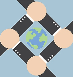 Hands connecting around the world vector image