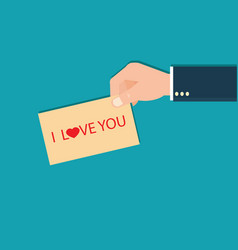 human hands holding i love you lettering card vector image vector image