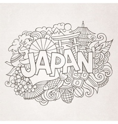 Japan country hand lettering and doodles elements vector image