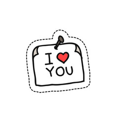sticker with love message doodle icon vector image vector image