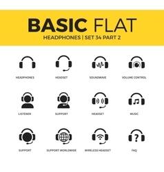 Basic set of headphones icons vector image