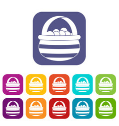 Basket with cranberries icons set vector