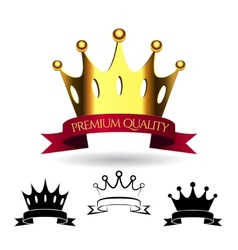 Golden crown with a red ribbon isolated on white vector image