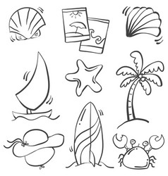 Hand draw of object summer holiday vector