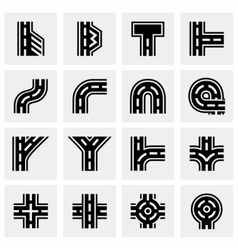 Road elements icon set vector image