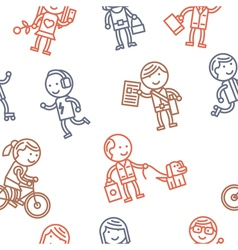 Seamless pattern with people vector image