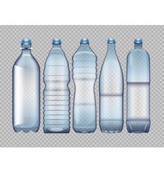 set of blue transparent plastic bottle vector image