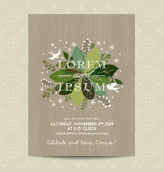 wedding card with cute green floral background vector image vector image