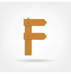 Wooden Boards Letter F vector image vector image