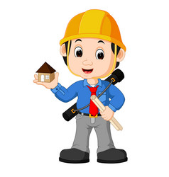 young man architect cartoon vector image vector image