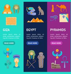 cartoon symbol of egypt banner vecrtical set vector image vector image