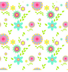 Colorful flowers spring seamless pattern vector