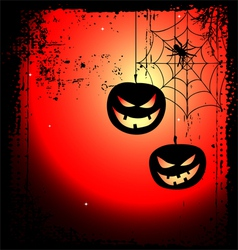 Halloween background - two pumpkins and cobweb vector image