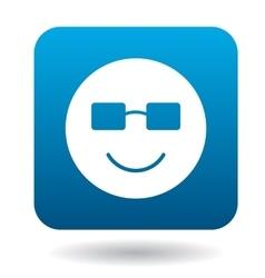 Smiling emoticon in sunglasses icon simple style vector