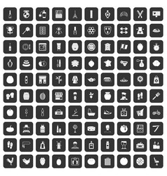 100 beauty product icons set black vector