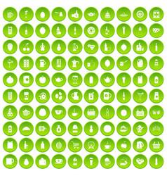 100 beverage icons set green circle vector
